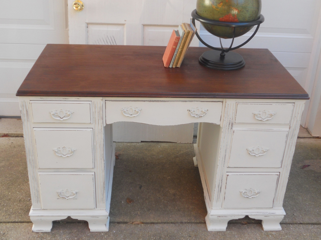 Painted in homemade chalk paint with Annie Sloan dark wax on top.
