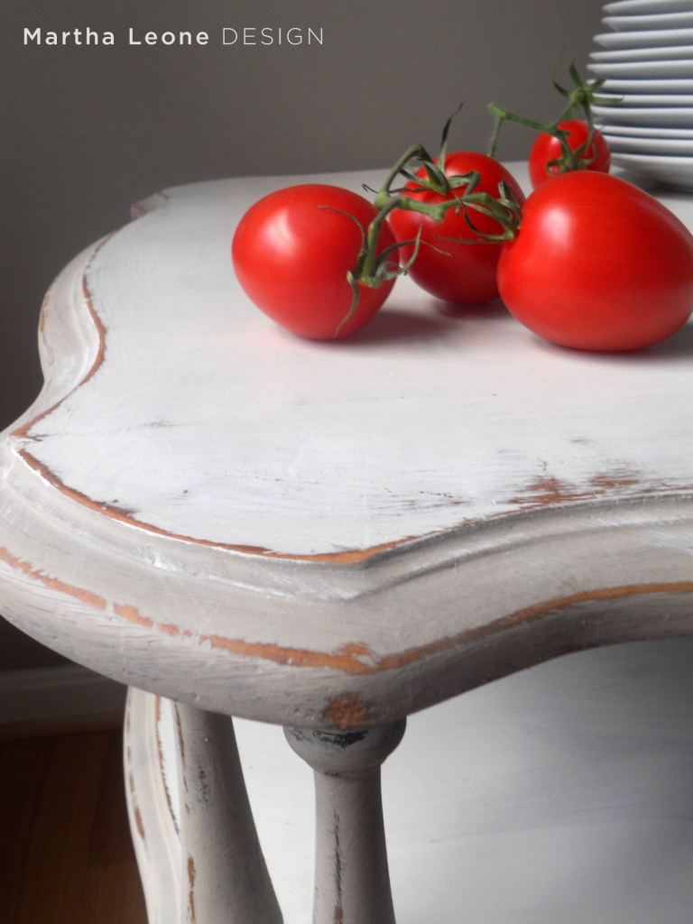 french, distressed white, side table, two-tiered