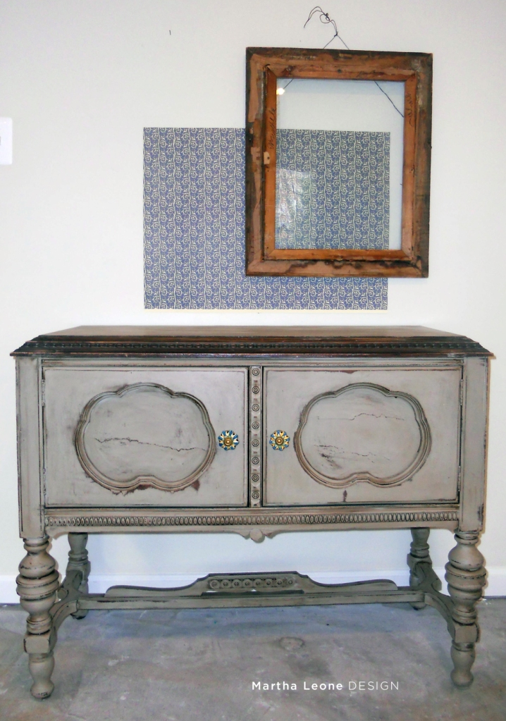 Antique buffet painted in Annie Sloan Coco then stained to age it at MarthaLeoneDesign.com