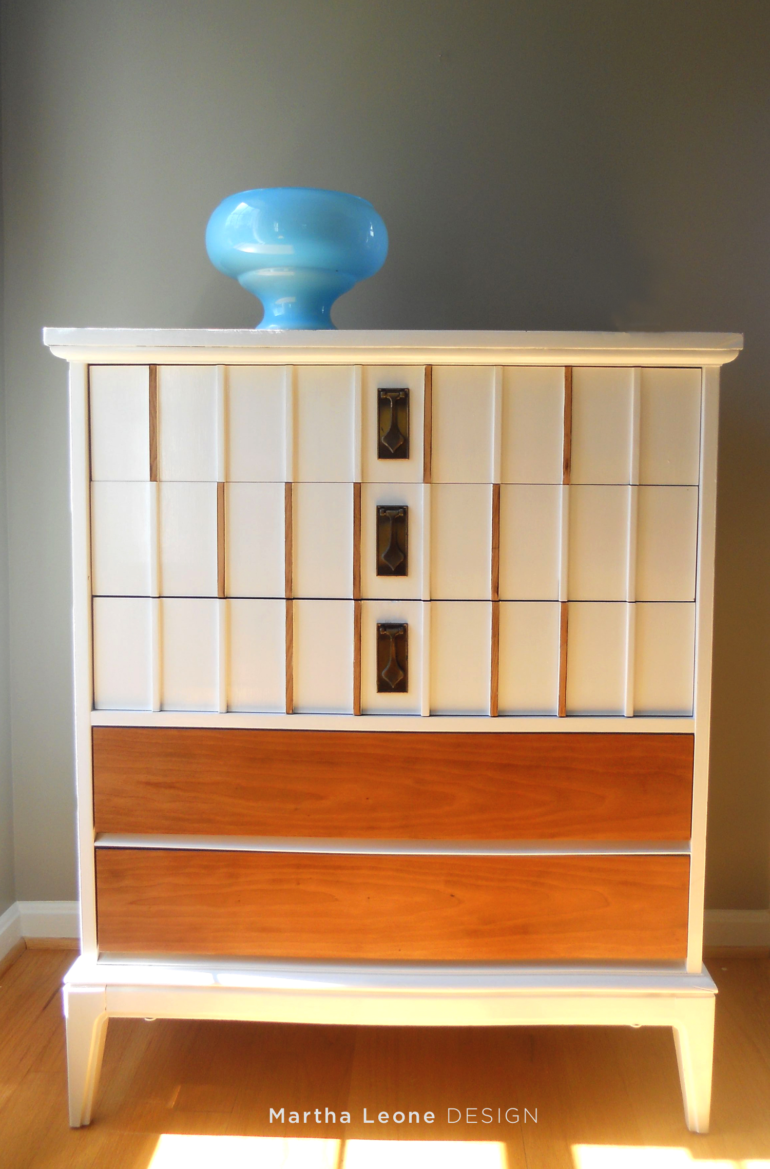 White and Stained MCM Dresser MarthaLeoneDesign1