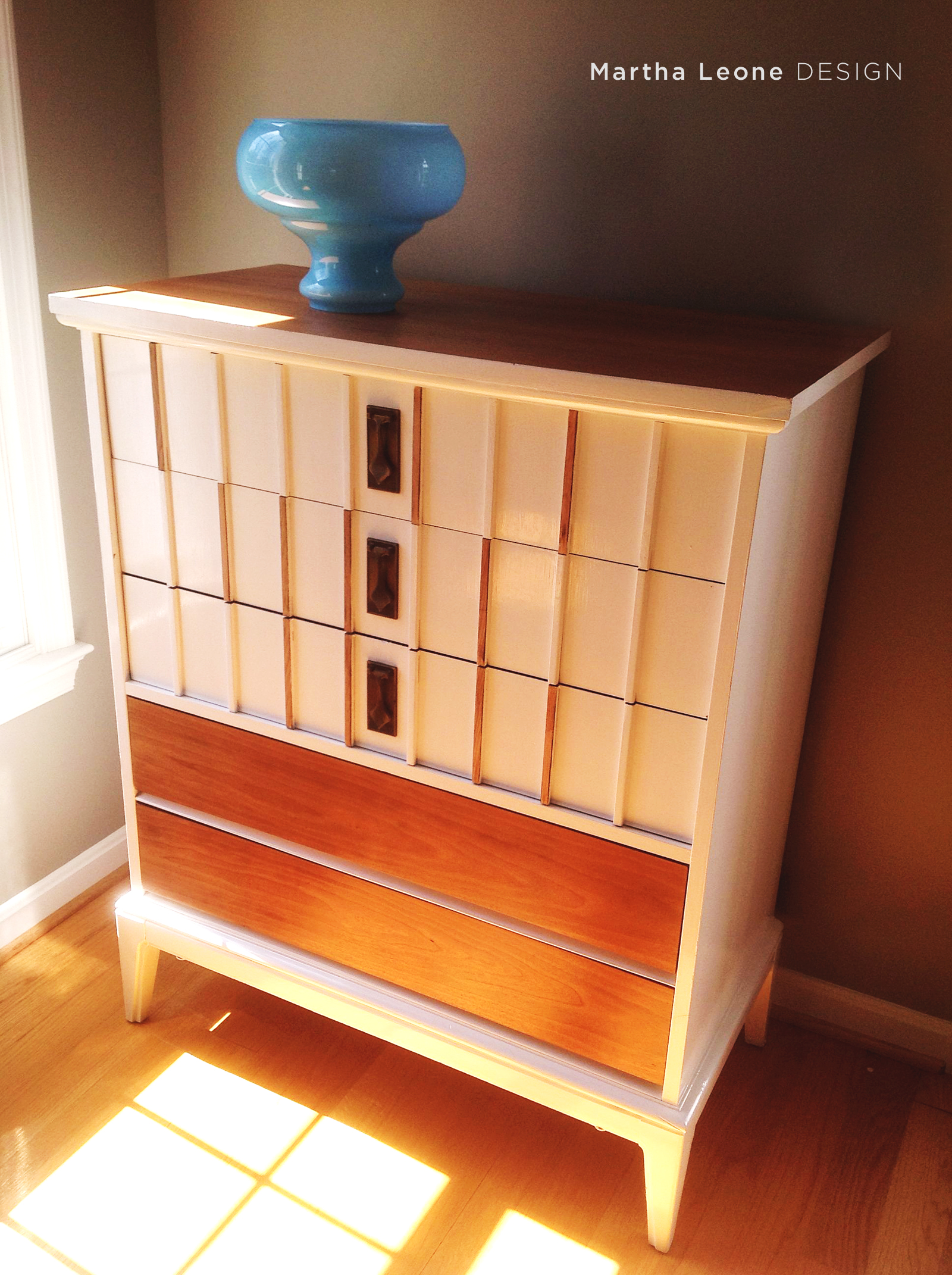 White and Stained MCM Dresser MarthaLeoneDesign2