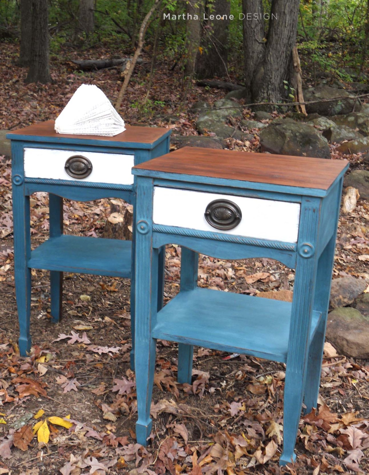 Blue and white nightstands
