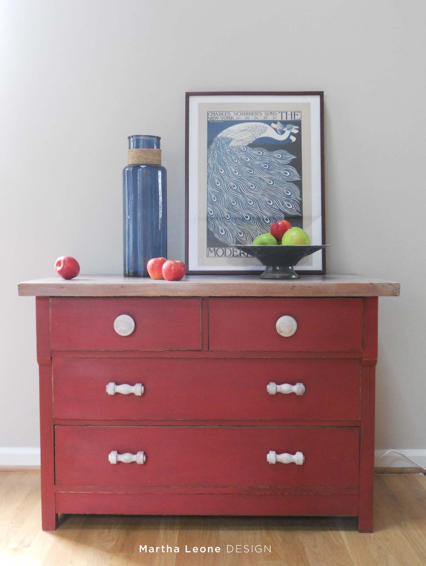Red And White Washed Dresser Martha Leone Design