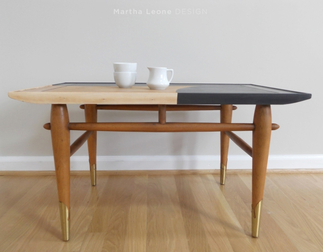 Black and raw wood mid-century side table
