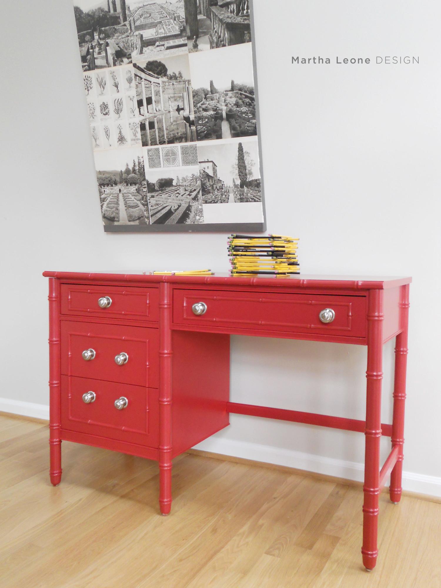 red desk and a business update martha leone design. Black Bedroom Furniture Sets. Home Design Ideas