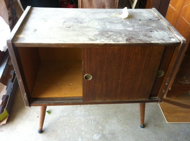 gray record cabinet