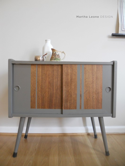 Gray record cabinet by Martha Leone Design
