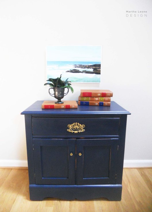 Navy Nightstand 3 by Martha Leone Design