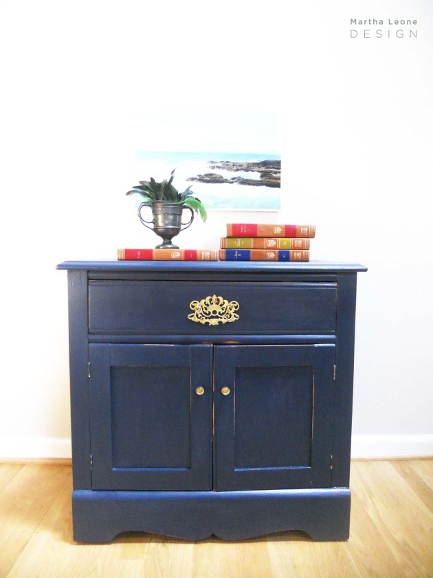Navy Nightstand 2 by Martha Leone Design